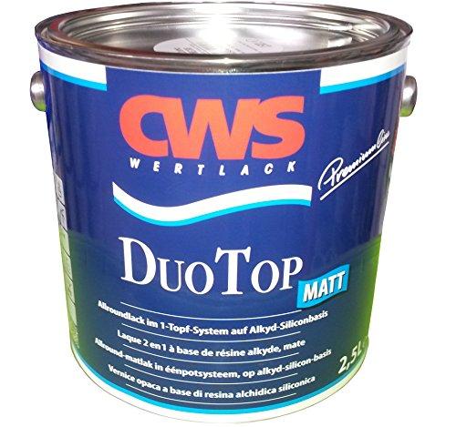 CWS CD Color Duo Top Matt, 2,5 L weiss, Matter Allroundlack auf Alkyd-Silikon-Basis. Lösemittelbasiertes Ein-Topf-System zur Grund- und Decklackierung im Innen- und Außenbereich. Silicon Top