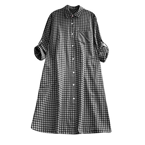 HupoopLässige Plaid Plus Size Tunika mit Knopfleiste Langarm Pocket Shirt Kleid(Schwarz,XL) (Shirt Kleid Plaid Pocket)