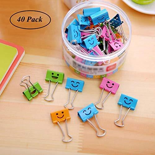 Coideal 40 Pack farbige Papierklammern mit niedlich liebevoll lächelndem Gesicht, Dateiorganisator Papierhalter Metall Binder Clips, verschiedene Farbe (19 mm, klein)