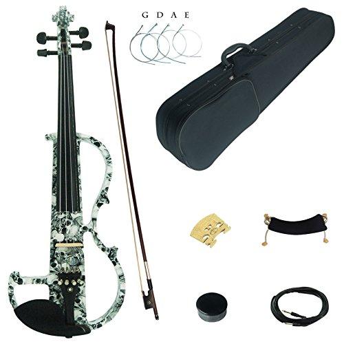Kinglos 4/4 Farbig Massivholz Fortgeschritten Elektrische Violine Geige Set mit Ebenholz Beschläge (DSG1312) -