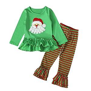 Greenwind Conjunto de Ropa de Navidad para niñas, bebés, bebés, Tops para bebés, Pantalones, Trajes de bengalas 15