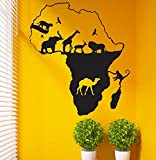 stickers muraux chambre Afrique Carte Autocollant Sticker Posters Animaux Pegatina Quadro Parede Décor Mural Afrique Carte Autocollant pour le salon