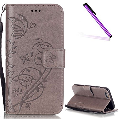iPhone 7 Coque Glitter,iPhone 7 Coque Souple,iPhone 7 Coque Cuir,iPhone 7 Coque Fleur Etui,iPhone 7 Leather Case Wallet Flip Protective Cover Protector,iPhone 7 Coque Portefeuille PU Cuir Etui,EMAXELE E Butterfly 6