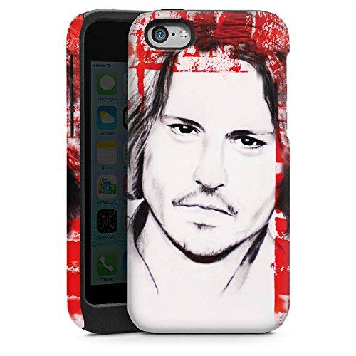 Apple iPhone 5 Housse Étui Protection Coque Johnny Depp Visage Dessin Cas Tough brillant