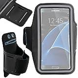 DURAGADGET Brazalete Deportivo Negro para Samsung Galaxy S7 Edge | S7 | J3 | A7 | A5 | A3 - Funda Ajustable - ¡con Bordes Reflectantes!