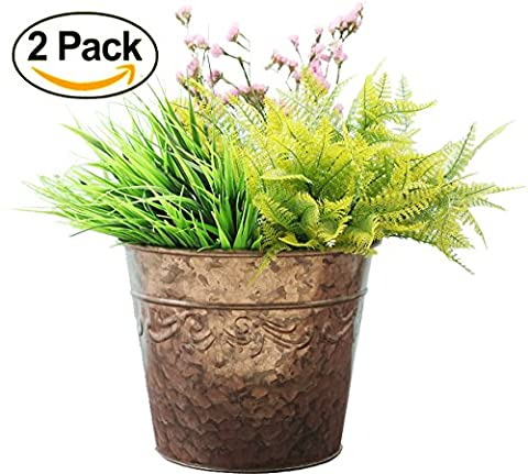 Flower Pots Garden Planters, Plant Containers Gardening Pots Double Galvanized Rose Gold Tin , 10 inch Set 2, New product release offer !