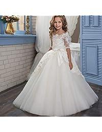 Cvbndfe Suave Blanco Floral de Encaje Infantil Princesa Boda Dama de Honor Retro Medio Manga Larga niña tutú niña de Flores Vestido de…
