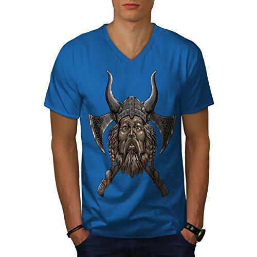 wellcoda Wikinger Helm AXT Männer M V-Ausschnitt T-Shirt