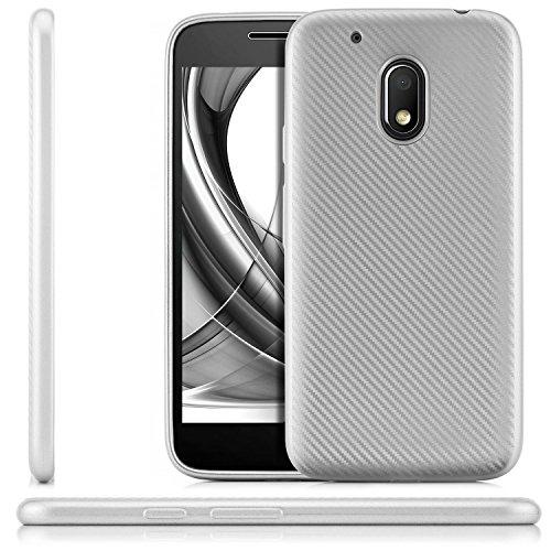 zanasta® Lenovo Moto G4 Play Hülle, Premium Schutzhülle Soft Flex Silikon Carbon Case TPU Slim Cover Handyhülle | Metallic Silber