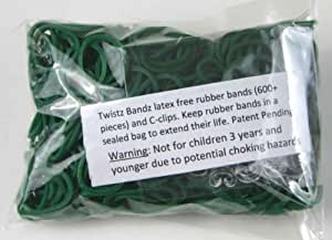 Official Rainbow Loom 600 Dark Green Refill Bands w/ C Clips