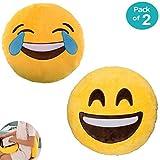 JZK 2 x Rund Dick Plüsch Emoji Kissen, Lachen + Weinen, 32cm Emoticon Sitzkissen Lächeln Gesicht Stuhlkissen Geschenk Spielzeug Zubehör, Gelb (Kissen, Lachen + Weinen)