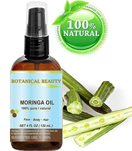 Moringa Öl - 100% rein natürlich unverdünnt kaltgepresstes Trägeröl - 120ml. Für Haut Haare Lippen Nagelpflege - nährstoffreiches, hochdosierte Palmitoleinsäure, Ölsäure und Linolsäure - feuchtigkeitsspendende Fettsäuren und Vitamin A, C und E. (Feuchtigkeitsspendende Nagelpflege)
