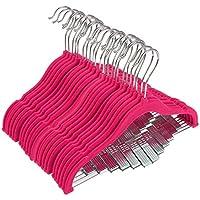 24perchas de ropa de bebé en terciopelo rosa intenso, muy delgadas, antideslizantes, perchas con ganchos para ropa de bebés, niños pequeños, 30.4 cm.