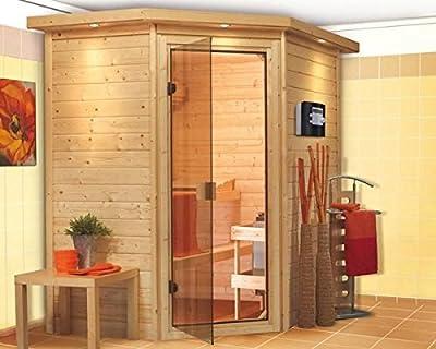 Cilja - Karibu Sauna Plug & Play inkl. 3,6 kW-Ofen - mit Dachkranz - von Woodfeeling GmbH auf Du und dein Garten