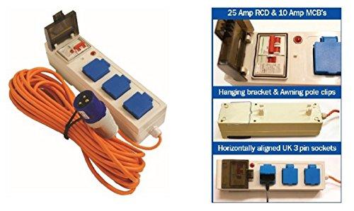 MP Essentials 3 Way Mobile Mains Unit Caravan Motorhome Campsite Power Hook Up RCD Cable Lead 2