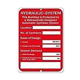wennuna Aluminium Metall Schild Hydraulische System Automatische Sprinkleranlage Warnzeichen Aluminium Metall Schild 22,9x 30,5cm