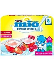Nestlé Mio Merenda Cremosa Fragola e Lampone da 8 Mesi, senza Glutine - 6 Vasetti Plastica da 60 gr