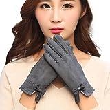 Sansee Faux Wildleder Handschuhe Für Dame, Mode Damen Winter Fall Outdoor Sport Warm Handschuhe F1069 (F1069 Grau, Mittlere Fingerlänge: ca. 9cm)