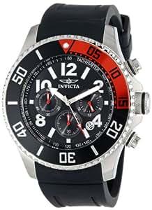 Invicta Pro Diver Men's Quartz Watch with Black Dial  Chronograph display on Black Plastic Strap 15145
