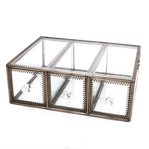 3Schubladen Organizer Vintage klar Glas & Messing Metall Schmuck und Kosmetik Aufbewahrung Make-up-Organizer geräumiges Display -