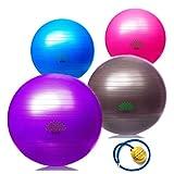 Sosila Anti-Burst Gymnastikball, Yogaball, Pilatesball, Fitnessball, Sitzball mit Pumpe, rutschfest, berstsicher von 65cm und 75cm, 150kg Maximalbelastbarkeit, Pezziball Swissball als Fitness Kleingeräte und Balance Stuhl, ideal für Rehasport, Balanceübungen, Koordinationsübungen, Schwarz, Lila, Pink und Blau (Blau, 75cm)