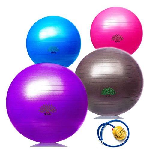 Sosila Anti-Burst Gymnastikball, Yogaball, Pilatesball, Fitnessball, Sitzball mit Pumpe, rutschfest, berstsicher von 65cm und 75cm, 150kg Maximalbelastbarkeit, Pezziball Swissball als Fitness Kleingeräte und Balance Stuhl, ideal für Rehasport, Balanceübungen, Koordinationsübungen, Schwarz, Lila, Pink und Blau (Pink, 65cm)