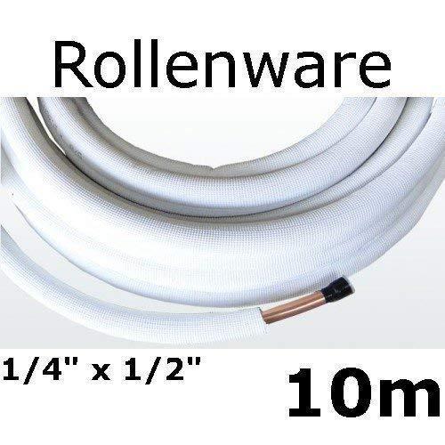 Kältemittelleitung Isoliert Klimarohr Doppelrohr 10 meter Rolle 1/4 1/2 Zoll 10 1/4