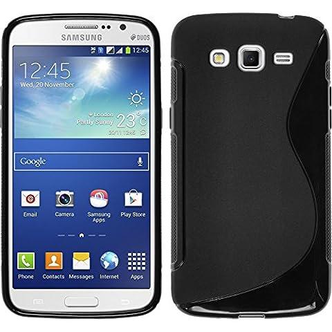 Coque en Silicone pour Samsung Galaxy Grand 2 - S-Style noir - Cover PhoneNatic Cubierta + films de protection