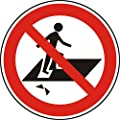 Verbotszeichen - Betreten verboten, Durchsturzgefahr - Ø 150 mm - 20 Verbotsschilder aus Polypropylen Folie, weiß (Aufdruckfarbe: schwarz/rot), permanent haftend