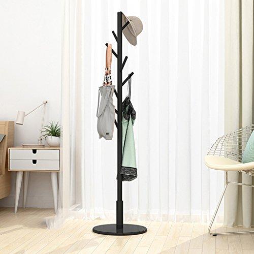 SKC Lighting-Porte-manteau Cintres en bois solide de plancher Chambre simple vêtements Rack Cintre simple pôle de ménage (Couleur : Noir)