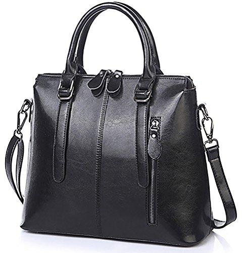 e Leder Doppel Zip Handtasche Schultertasche Damen Designer Casual Handtaschen für Arbeit(Schwarz) (Leder Designer Handtaschen)