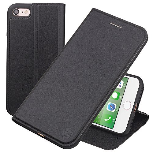 Nouske iPhone 7 iPhone 8 4.7 Zoll Stand Hülle Etui with Karte Halterung Leder Wallet Klapphülle Flip Book Case TPU Cover Bumper Tasche Ultra Slim, Schwarz