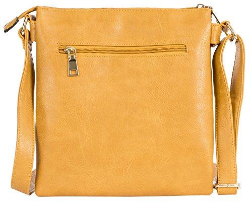 Big Handbag Shop - Borsa a tracolla da donna, di medie dimensioni, alla moda Design 2 - Gun Metal