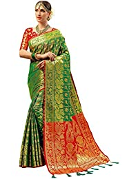 Ethnicjunction Persian Animal Woven Tanchoi Banarasi Silk Saree With Unstitched Blouse Piece (EJ1175-1001, Green)