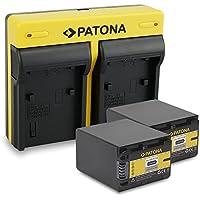 PATONA Dual Cargador Sony NP-FV100 con micro USB + 2x Bateria para Sony HDR-CX110 CX170 DCR-SR68 SR78 SR300