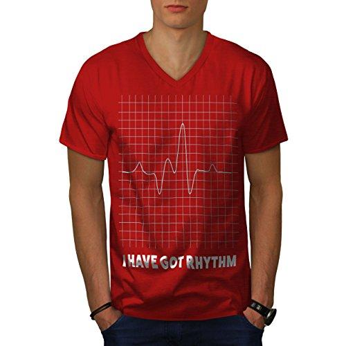 wellcoda Haben Rhythmus Männer L V-Ausschnitt T-Shirt
