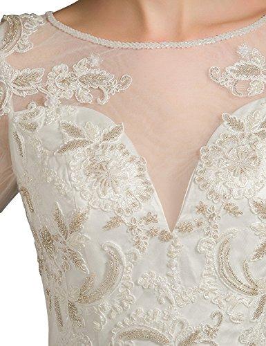 Fanciest Damen High Neck Spitzen Brautkleider with Lang Sleeves Bridal Kleider White White