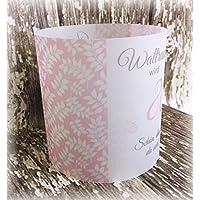 4er Set Tischlicht Tischlichter Blätter runder Geburtstag 40 50 60 70 80 90 Tischdeko personalisierbar rosa altrosa