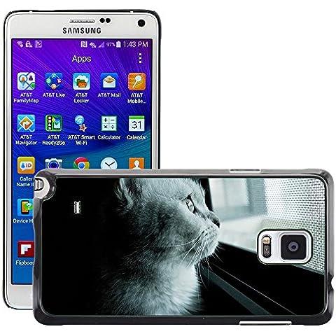 Etui Housse Coque de Protection Cover Rigide pour // M00114766 Gato Gato Mia Gel Opiniones mascotas // Samsung Galaxy Note 4