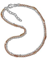 SilberDream Fußkette aus 925er Sterling Silber - Stäbchen Rose vergoldet - Fußkettchen SDF0253T