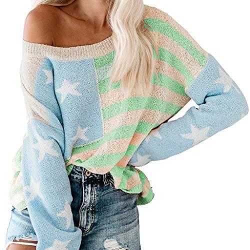 MOTOCO Langarm Farbblock Streifen Pullover Damen O Hals lose Plus Size Pullover Frauen Farbe Herbst und Winter Pullover(XL,Grün)