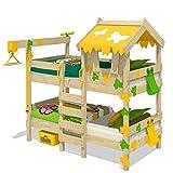 WICKEY Etagenbett CrAzY Ivy Spielbett für 2 Kinder Hochbett mit Dach, Kletterleiter und Lattenboden, gelb-apfelgrün, 90x200 cm