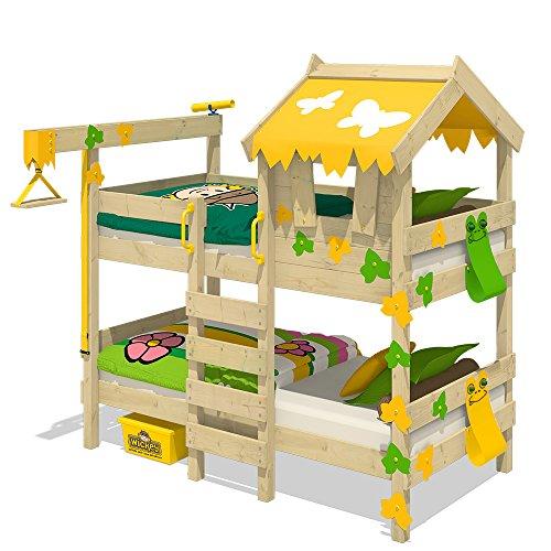 etagenbett haus WICKEY Etagenbett CrAzY Ivy Spielbett für 2 Kinder Hochbett mit Dach, Kletterleiter und Lattenboden, gelb-apfelgrün, 90x200 cm