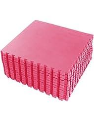 FB FunkyBuys Rose 16SQ. FT imbriqués réversibles pour intérieur/extérieur de gym Tapis de protection du sol –-60x 60cm