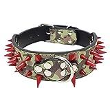 Dogs Kingdom cooles, auffälliges Hundehalsband, mit spitzen Nieten, geeignet für Alaskan Malamute, Labrador, Französische Bulldogge oder Boxer, Rot, in 50,8-66 cm Länge verfügbar