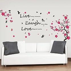 """Walplus - Adesivi grandi da parete con fiori e farfalle """"Live, Laugh, Love"""""""