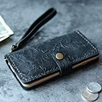 iPhone XS/XS MAX/XR / 8/8 Plus / 7 Plus Case iPhone 6S 6 Plus SE Case Leather Wallet Gifts for Womens Mens Italian Tooled Leather (Black Pattern)