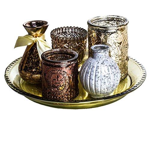 SIDCO 6 x Windlicht orientalisch Kerzenhalter Deko Teeelichthalter Tablett Vase Glas