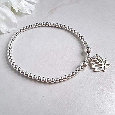Bracelet perles et breloque lotus Argent massif