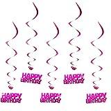 Oblique Unique® Hänge-Deko Happy Birthday Geburtstag - mit Bänder und Ösen 5er Pack